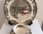 Johnson Bros. The Friendly Village, School House Dinner Plate and Ice House Cup and Saucer