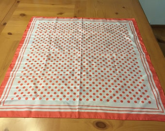 Coral and White Polka Dot Square Scarf