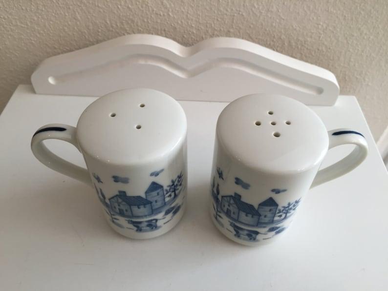 Japan Vintage Blue Farm Scene Chicken Salt and Pepper Shakers