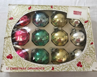 Shiny Brite Christmas Ornaments - Set of 12 with Box