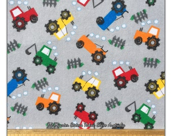 cotton jersey fabric stretch half metre 50cm Digger lorry on grey