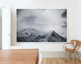 Mont Blanc, French Alps, Landscape, Snow, Dark, Moody, Atmospheric, Home decor, Wall art, Home, Minimal, Print, Art