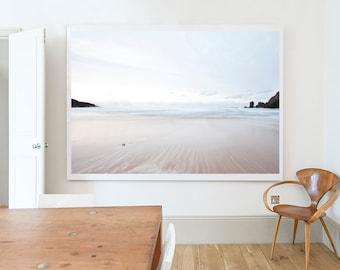 Photograph,  Landscape, Beach, Pastel, White, Brown, Isle of Lewis No3, Scotland, Home decor, Wall art, Home, Minimal, Print, Photo, Art