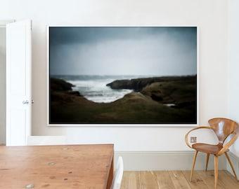 Wild weather, Scotland, Landscape, Isle of Lewis, Photograph, Ocean, Dark, Moody, Rain, Atmospheric, Wall art, Home, Minimal, Print, Art