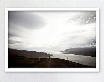 Iceland, Westfjords, Road, Landscape, Ocean, Dark, Moody, Rain, Atmospheric, Home decor, Wall art, Home, Minimal, Print, Art