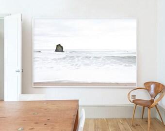 Surf, Black Rock Beach, Widemouth Bay,  Landscape, Beach, Pastel, White, Brown, Cornwall, Home decor, Wall art, Home, Minimal, Print, Art