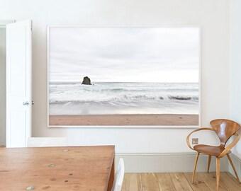 Surfers, Black Rock Beach, Widemouth Bay,  Landscape, Beach, Pastel, White, Brown, Cornwall, Home decor, Wall art, Home, Minimal, Print, Art
