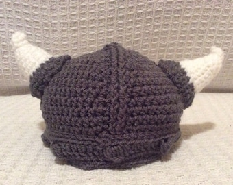Crochet Viking Hat / Crochet Viking Helmet /  Crochet Hat / Handmade / Baby Hat / Kid's Crochet Hat / Adult Crochet Hat
