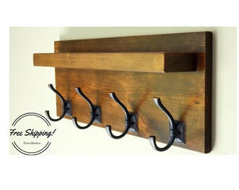 Everyday Rustic Solid Wood Coat Rack With Shelf And Coat Hooks   Free  Shipping