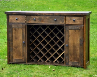 Wine Rack Buffet Sideboard Rustic Storage Drawers And Shelves Solid Wood  Farmhouse Living Dining Room China Credenza Cabinet Buffet