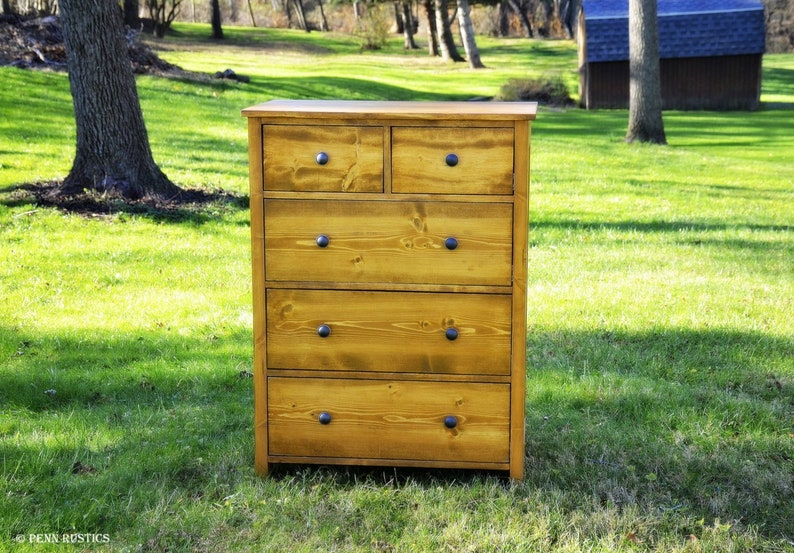 Five 5 Drawer Tall Bedroom Dresser Solid Wood  Rustic Country image 0