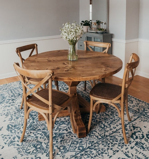 Round Pedestal Trestle Table Rustic X Round Pedestal Farmhouse Solid Wood  Beam Dining Room Kitchen Table