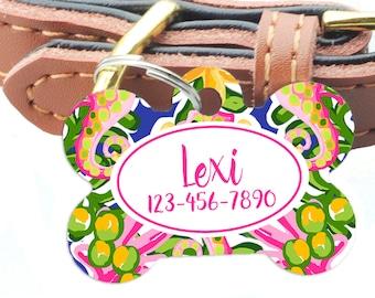 floral dog tag, floral Pet ID Tag, Personalized Pet Tag, Tropical Dog Name Tag - Custom Dog ID Tag - Dog Collar Name Tag, bone dog tag