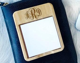 Monogram Sticky Note Holder - Office Gift - Bamboo Monogram Desk Accessory