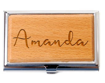 Personalized Business Card Holder - Corporate Gift Idea - Personalized Bamboo Wood Business Card Holder - Office Gift