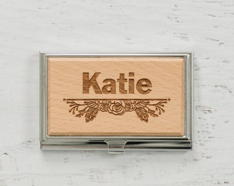Personalized Business Card Holder, wood card holder, floral bamboo business card case, wood credit card holder