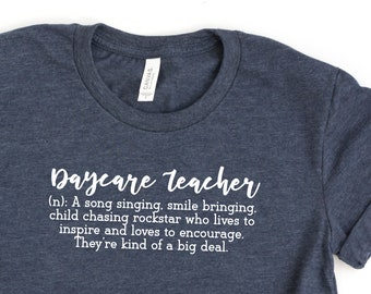 2a14f1e2e Daycare Teacher T-shirt - Womens Graphic Tees Preschool Teacher Definition  - Gift for Daycare Provider