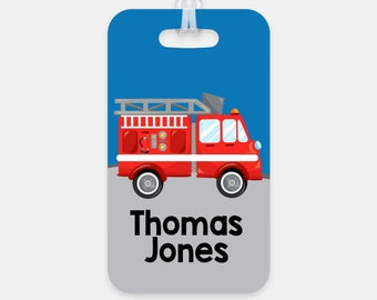 Fire Truck Boys Backpack Name Tag - Firetruck Back to School Bag Tag