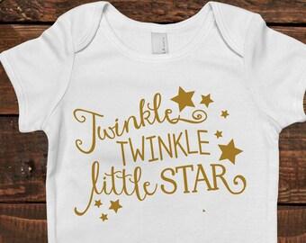 Gold Baby Bodysuit - Newborn Baby Gift - Twinkle Twinkle Little Star