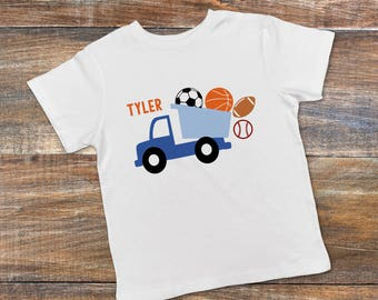 6b3986068 Personalized Toddler Boy Shirt - Blue Dump Truck Boys Tee - Soccer  Basketball Baseball Football Boys Tshirt