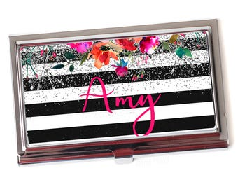 Business card case etsy floral business card case for women metal business card holder personalized black white stripe silver glitter business card case colourmoves