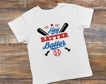 Baseball Shirt - Toddler Baseball Tee - Hey Batter Batter - Red White & Blue