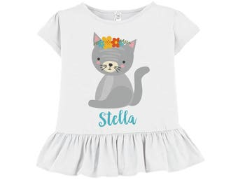 Tshirt for Toddler Girls // White Ruffled Tshirt // Gray Cat Floral // Personalized Toddler Shirt