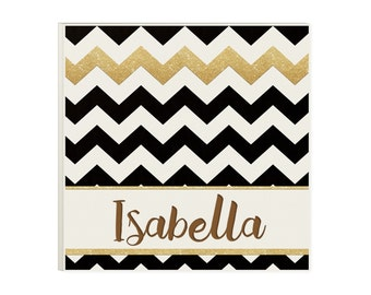 Gift for Teen Girl - Chevron Black & Gold Personalized Wood Sign
