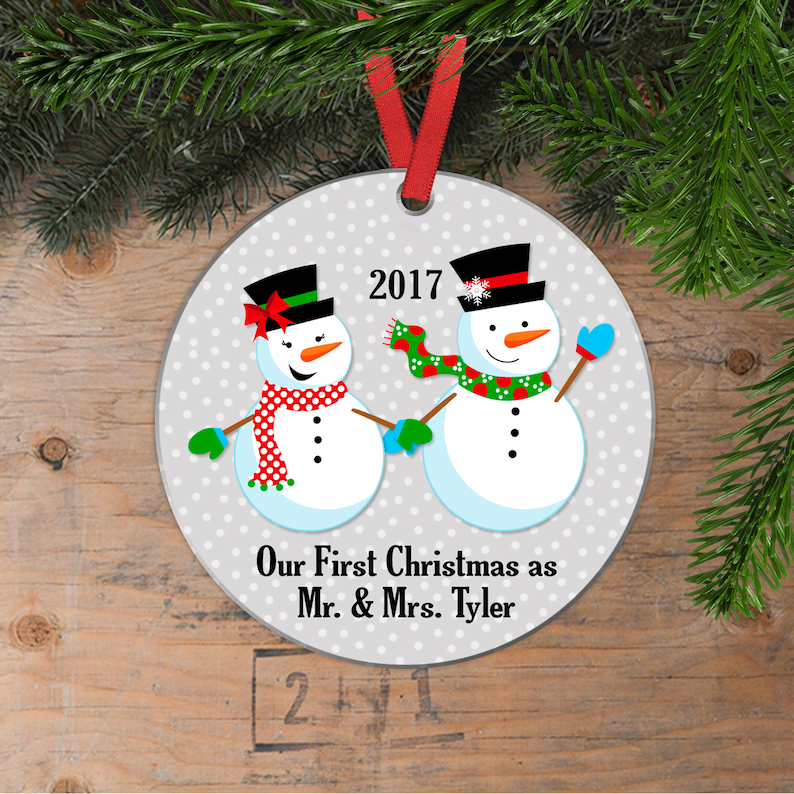 Our First Christmas Ornament  Personalized Wedding Gift image 0