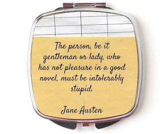 Jane Austen Compact Mirror - Jane Austen Gift - Jane Austen Quote Compact Mirror, literary gift for reader