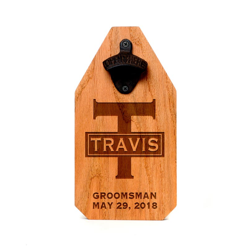 Groomsmen Gift Custom Beer Bottle Opener Wood Sign image 0