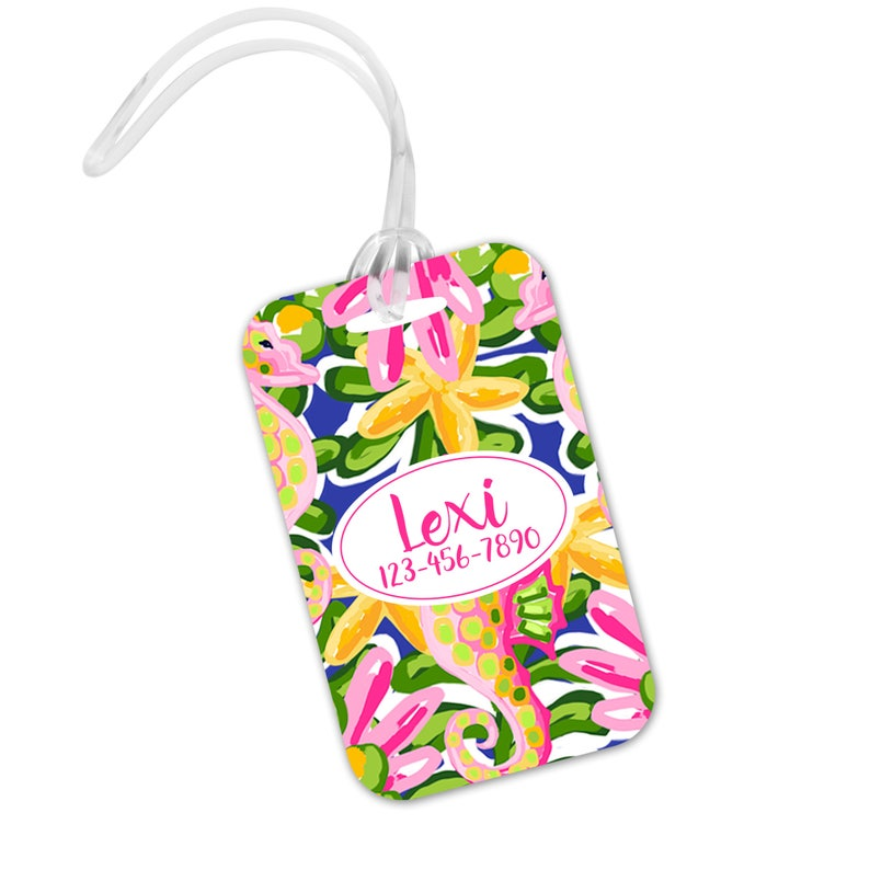 Tropical Luggage Tag   Cute Preppy Bright Islands  Beach image 1