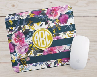 Monogram Mousepad - Floral Watercolor Office Decor - Navy Rose Gold Mouse Pad