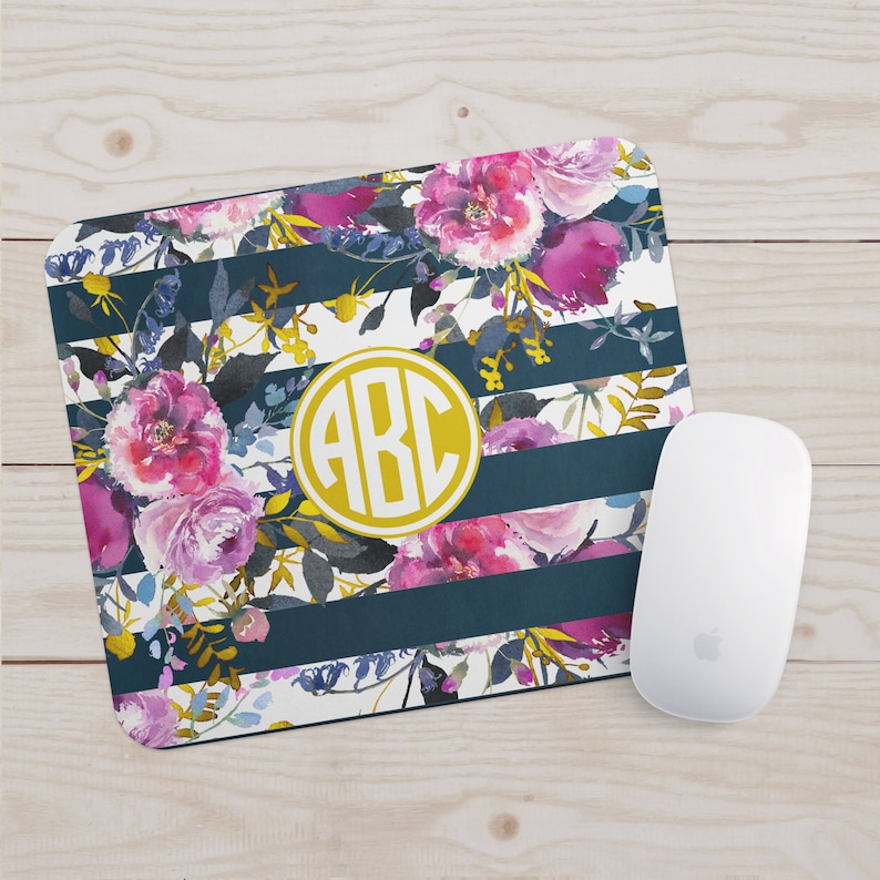 Monogram Mousepad  Floral Watercolor Office Decor  Navy Rose image 0