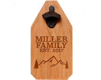 Welcome Wood Sign - Personalized Beer Bottle Opener Wood Sign - Mountains & Evergreen Tree Name Sign