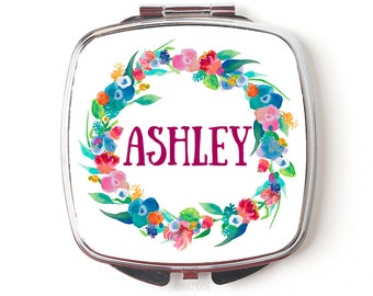 Bridesmaids Gift, personalized bridesmaid gift, Personalized Floral Watercolor Wreath Compact Purse Mirror, Pocket Mirror for Bridal Party