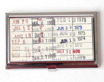 Vintage Library Checkout Card Business Card Case - Business Card Holder for teacher - Reader Gift