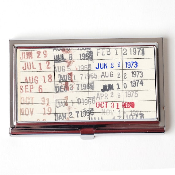 Vintage Library Checkout Card Business Card Case Etsy