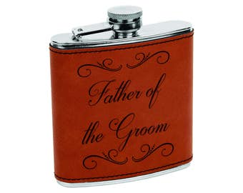 Father of the Groom Father of the Bride Gift Flasks - Custom Rawhide & Silver Flask