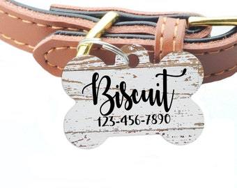 Pet ID Tag, Weathered Wood Pattern Custom Dog Name Tag, personalized dog tag, wood texture pet id tag, woodgrain dog name tag