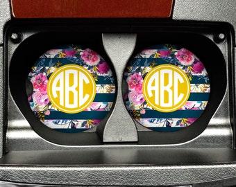Monogram Car Coasters - Navy Rose Gold Floral Sandstone Car Coaster