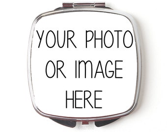 Custom Compact Mirror - Custom Photo Purse Mirror - Custom Logo Gift