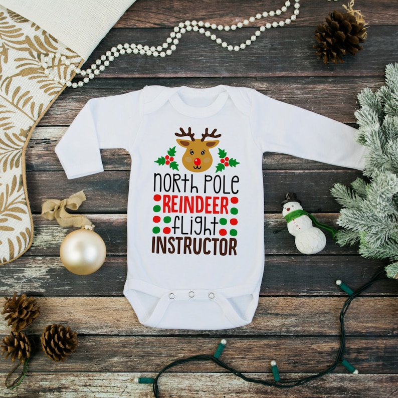christmas baby long sleeve bodysuit  baby christmas clothes  image 0