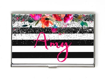 Floral Business Card Case for Women - Metal Business Card Holder - Personalized Black & White Stripe Silver Glitter Business Card Case