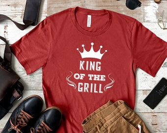 King of the Grill Tshirt for Men, BBQ Cooking Gift for Dad, Grilling Gift Idea,