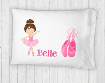 Personalized Ballerina Bed Pillowcase // Standard Twin Pillow with Pink Ballet Shoes and Girls Name // Ballet Pink Room Decor