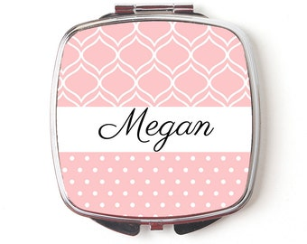 Custom Bridesmaids Gifts, Personalized Compact Mirror, Blush Wedding, Unique Bridesmaids Gifts, bridesmaid gifts personalized