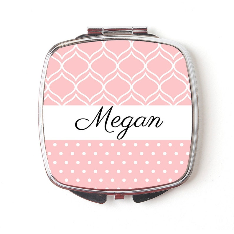 Custom Bridesmaids Gifts Personalized Compact Mirror Blush image 0