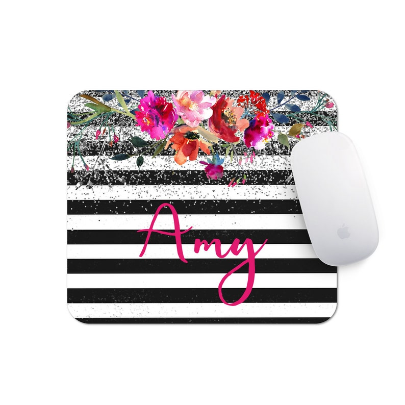 Floral Mousepad  Watercolor Office Decor  Personalized Mouse image 1