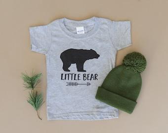 Little Bear Shirt - Gray Toddler Tee - Sister Bear T-shirt - Brother Bear Tshirt - Matching Family Kids Tshirts